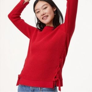 LOFT Cable Knit Lace Up Pullover Sweater - Red